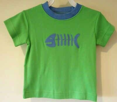 New Kelly's Kids Tyler Fish Bones Green Shirt Boy's Size 12 Month