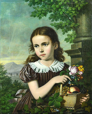 "oil painting handpainted on canvas ""a little girl with flowers and fruits""@N8081"