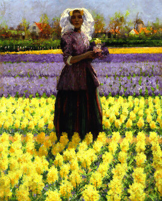 """perfect oil painting handpainted on canvas """" dutch girl with flowers""""N10705"""