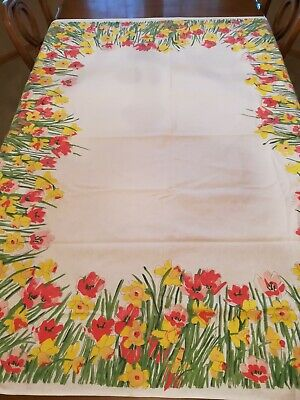 Vintage  Cotton Vera Spring Daffodil Tablecloth Floral  Tablecoth 51 x 62