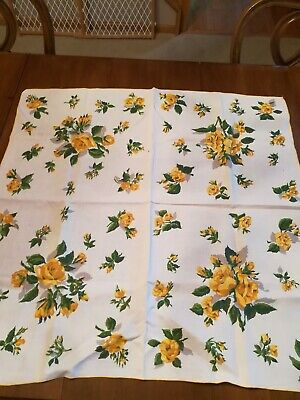 """Vintage Linen Square Tablecloth Yellow Rose Clusters 34"""" by 34"""""""