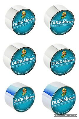 "Duck Mirror Crafting Tape 1.88"" 48mm x 5yd Silver Holographic 6 Pack 30yd total"