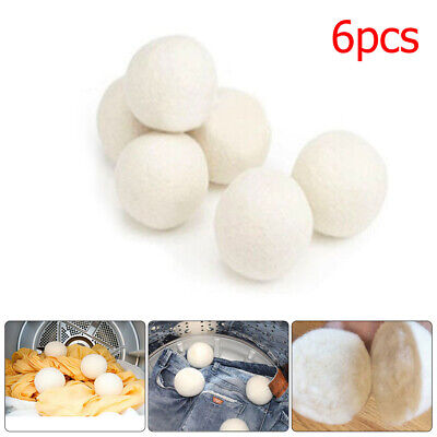 6pcs Wool Dryer Balls Reusable Natural Organic Laundry Fabric Softener Ball Fine
