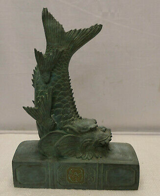 Vintage BRONZE DRAGON FISH STATUE Ornament Japanese SIGNED Book Ends #87