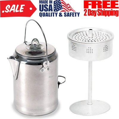 Vintage Coffee Maker Pot For Camping Trips Outdoor Campfire Percolator Stove Top
