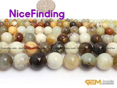 Natural Round Mixed Color Nephrite Jade Gemstone Loose Beads Jewelry Making 15""