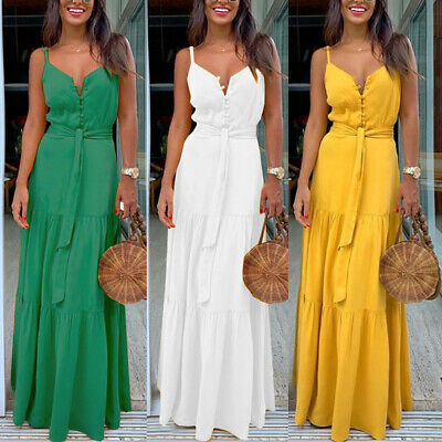 Fashion Women's Summer Boho Sleeveless Strappy V-neck Bandage Party Beach Dress