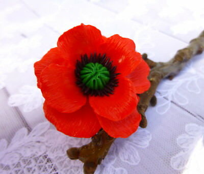 Flower poppy red Ring HANDCRAFTED party Fashion polymer clay jewelry HANDMADE