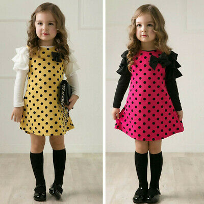 2T-7T Toddler Kids Baby Girls Dot Bow Princess Dress Sundress Outfits Clothes