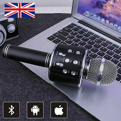 New Karaoke Wireless Bluetooth Microphone Speaker Handheld MIC USB Player KTV UK