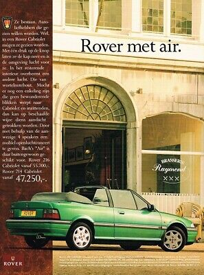 1993 Rover 200 214 216 Cabriolet (NL, 1pg.) Advertisement 2925