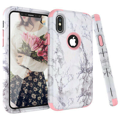 For iPhone XR Xs Max 8 Plus Shockproof Marble Case Heavy Duty Full Body Cover