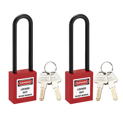 Lockout Tagout Locks 3 Inch Shackle Key Different Safety Padlock Red 2pcs