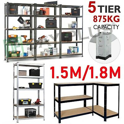 5 Tier Heavy Duty Steel Shelving Racking Metal Industrial Garage Shelf Max 175Kg
