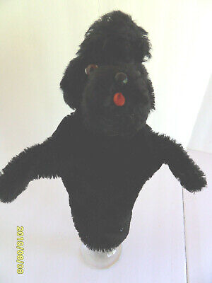 Steiff dog doll poodle hand puppet mohair button flag made in Germany 2746