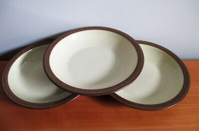 "Denby Energy Cinnamon 3 Shallow Rimmed Bowls 8 1/2"" Soup Pasta Brown Cream"