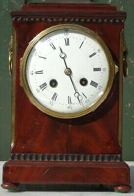 Gorgeous Very Old Wooden Bracket Or Mantle Clock With Fancy Flowers Handles