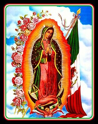 "4"" Catholic Virgin Mary of Guadalupe vinyl sticker.  Mexican flag decal for car."