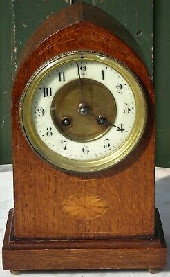 Excelent Looking Wooden Old Inlaid Bracket Or Mantle Clock With Arched Top