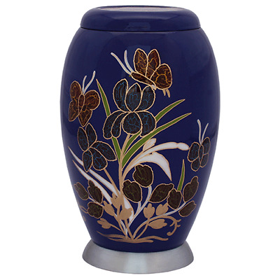 Blue Floral, Butterfly Urn -Adult, Large, Cremation Funeral Memorial