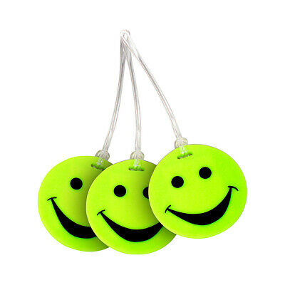 Lewis N. Clark Set of 3 Neon Smiley Face Luggage Tags Luggage Accessorie NEW