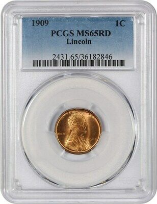 1909 P Lincoln Wheat 1C Pcgs Ms65Rd Rare Red No Vdb -  First Year Of Issue