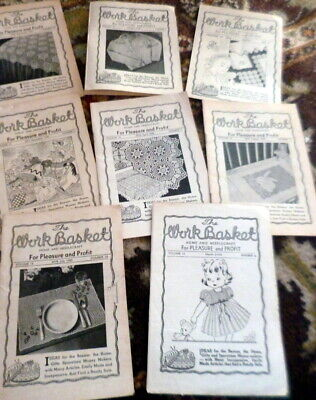 RARE VTG 1940s 50s WORKBASKET MAGAZINE Lot of 7 CROCHET Knitting Sewing Quilts