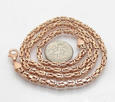 """18"""" Technibond Square Byzantine Chain Necklace 14K Rose Pink Gold Clad Silver"""