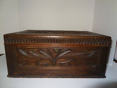 Antique Wood Hand Carved Americana Folk Art Document Box mid 19th century