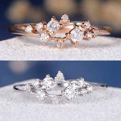 Cluster Zirconia Women's Stackable Cubic Filled Promise Rings Gold 14K Eternity