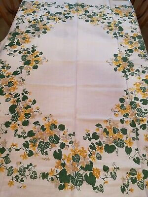 "Vintage Yellow Floral  Linen Rectangular Tablecloth Size 48"" by 68"""