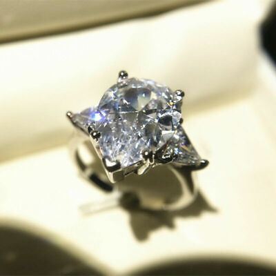 Women's Unique Triangle Ring  Engagement Silver AAA 5ct Cut Size