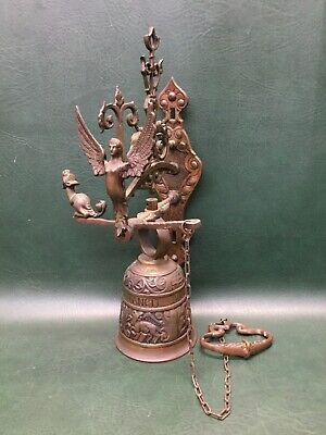 Antique Brass Wall Mount Bell Figural Angel VOCEM MEAM AUDIT QUI ME TANGIT