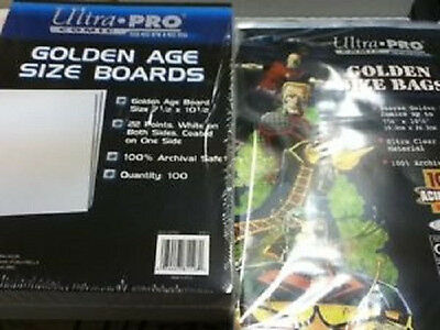 100 Ultra Pro Golden Size  Storage Bags And Boards  Brand New Factory Sealed