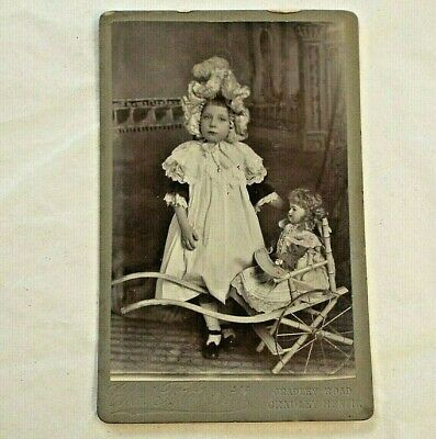 Old Antique Victorian CABINET CARD PHOTO GIRL BISQUE DOLL w/ Buggy Stroller CART