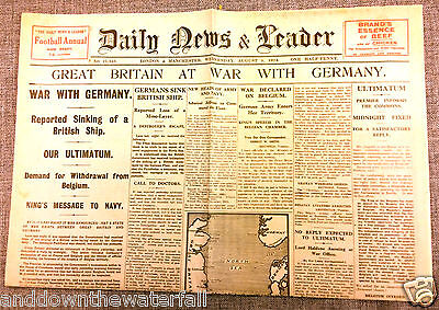 1914 Newspaper World War I Antique II British English German Trenches Document