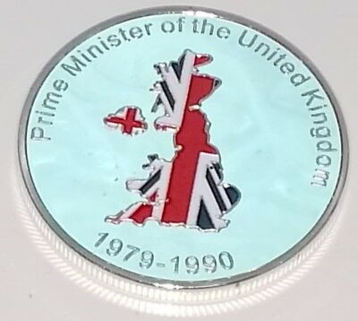 Margaret Thatcher Silver Coin England London Political Iron Lady 80s 70s Retro U