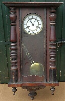 Old Large Wooden Vienna Wall Clock To Clean Up