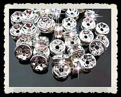 AAA++ Charms 6mm Spacer Crystal Beads FREE Silver TOP Rondelle 50PCS Rhinestones