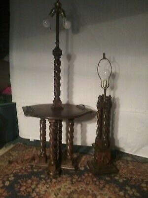 English Antique Oak Barley Twist Floor Lamp and end table lamp