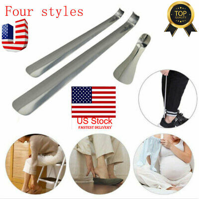 "6""-20"" Long Handled Metal Shoe Horn Lifter Stainless Steel with Hanging Hole USA"