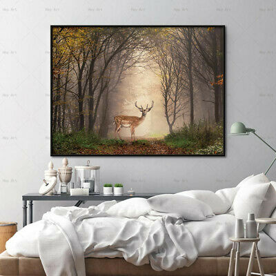 Deer In The Forest Landscape Wall Art Picture Canvas Painting Poster Home Decor