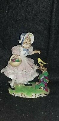 Vintage Dresden Germany Porcelain Figurine Of Girl Picking Blackberries & Bird