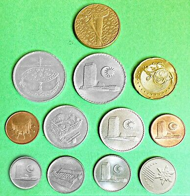 MALAYSIA:- 12 different 20th century circulation coins. 1c - 1 Dollar. AP7618