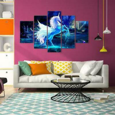 5Pcs Unicorn Abstract Flowers Canvas Print Painting Picture Wall Art Home Decor