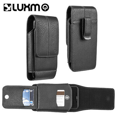 Black Leather Belt Clip Pouch Holster Holder Vertical With Wallet Card Slot