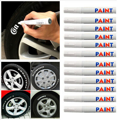 5 x White Waterproof Auto Tyre Tire Tread Rubber Paint Pen Markers Permanent a+