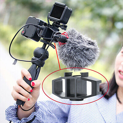 2 Cold Shoes Mounting Mic Bracket Adapter Holder With 1/4 Screw for GoPro Vlog