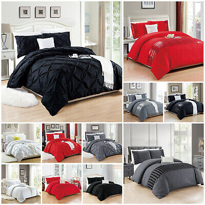 Plain Duvet Cover Bedding Set White Grey Black Double King Quilt With Pillowcase