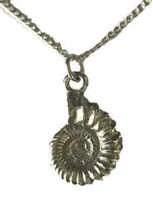 Ammonite Pendant With Silver Chain Handcrafted in Solid Pewter In UK (WA) APP
